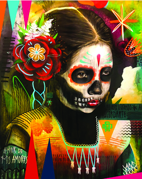 Image of a painting by artist Armando Silva. The painting is of a young girl whose face is painted like a skeleton for Dia de los Muertos. She has a large red flower on the right side of her head, and she wears colorful clothing with traditional imagery on it. The background is adorned with very bright and colorful flowers and shapes.