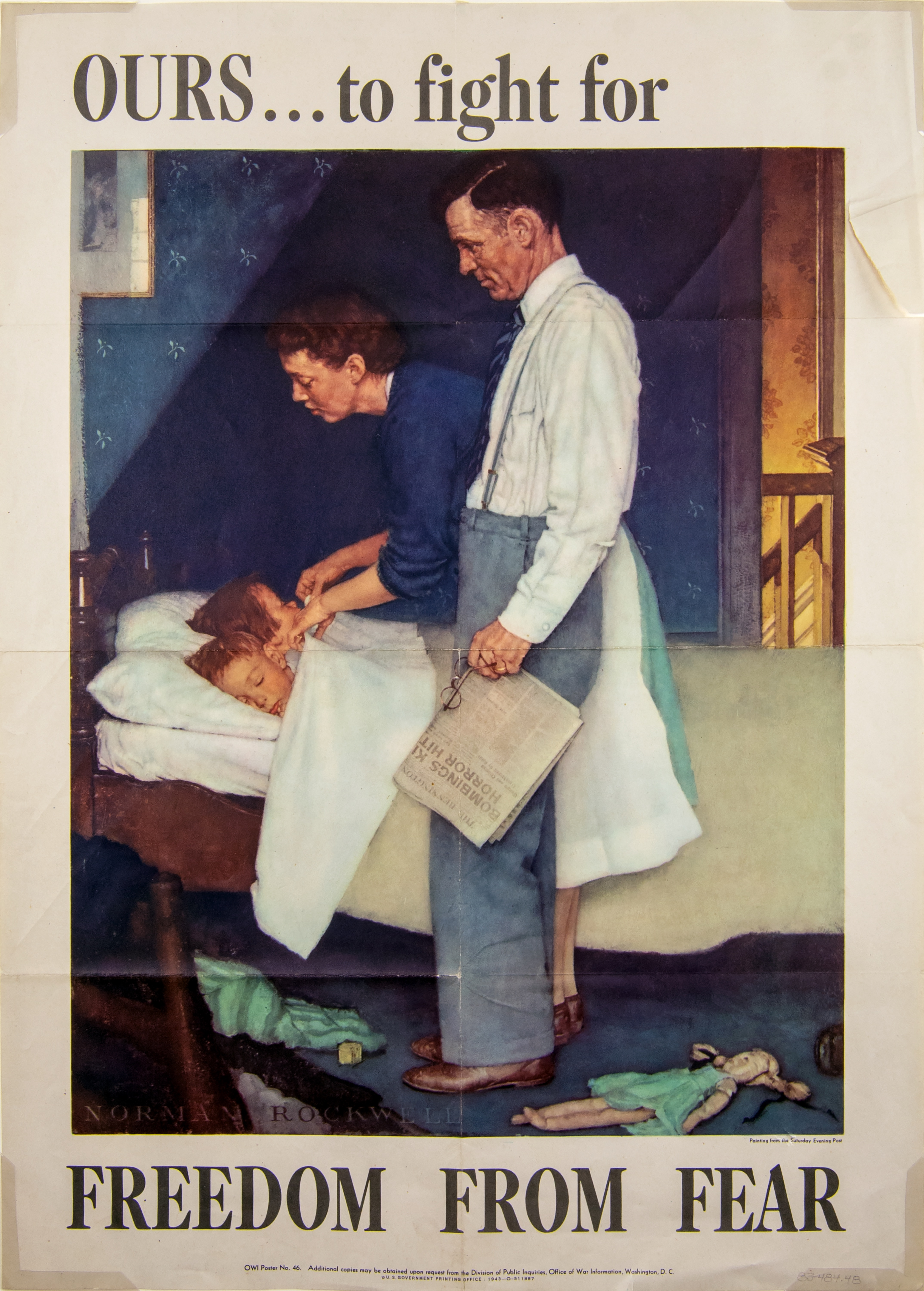 Image of a poster by Norman Rockwell. In this image, Rockwell portrays freedom from fear by showing a man and woman tucking two children into bed. One child is laying with its eyes closed, the other is having the blanket tucked in around its shoulders by the woman. The man stands over the bed, looking down at the children. In his hands, he is holding a newspaper and a pair of eyeglasses. He is dressed in business attire, with leather shoes, trousers with suspenders, a white dress shirt, and a necktie.
