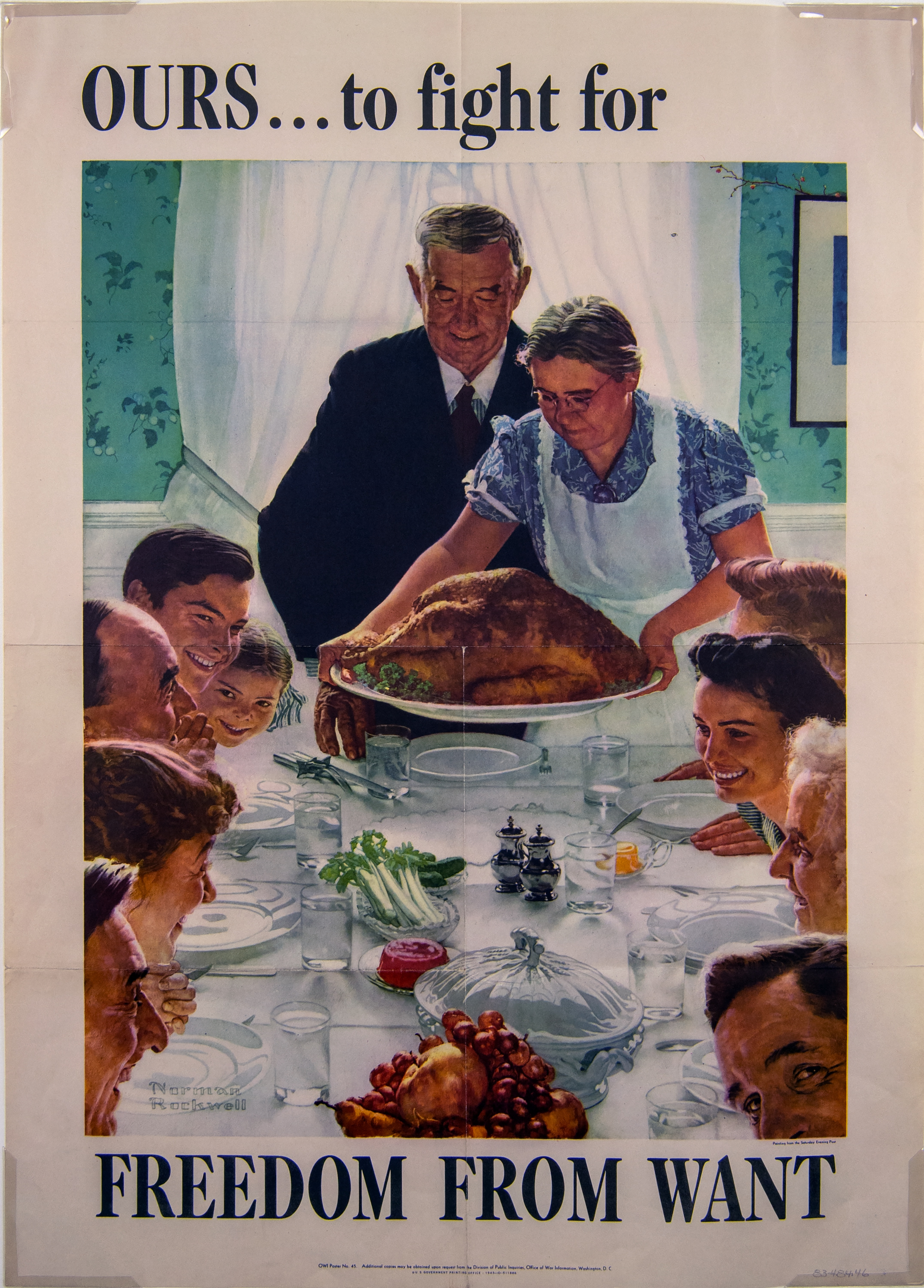 Image of a poster by Norman Rockwell. In the image, Rockwell depicts freedom from want with a holiday table, set with white linens and china. An older man stands at the head of the table while an older woman wearing an apron arrives with a large roasted turkey on a china platter. Around the table, multi-generational people are seated, smiling and looking forward to the meal together.