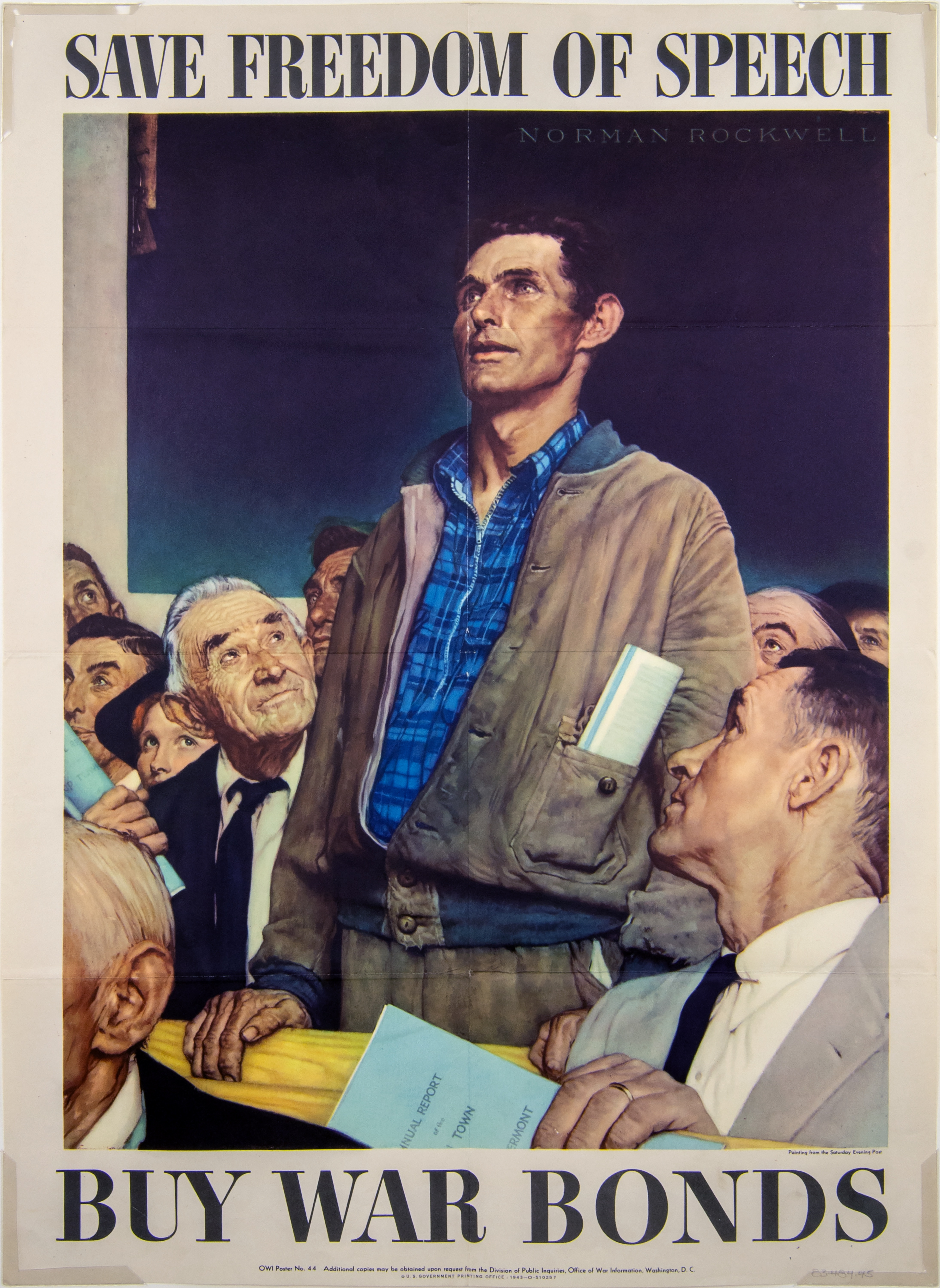 Photo of a poster from 1943, used to sell war bonds. Norman Rockwell's image depicting freedom of speech is characterized by a casually-dressed gentleman, standing  up amidst a crowd of people seated. He is looking forward, and is speaking to the group. He is wearing a casual button-up jacket, trousers, and a collared plaid shirt. He has some papers rolled up and tucked into his jacket pocket.