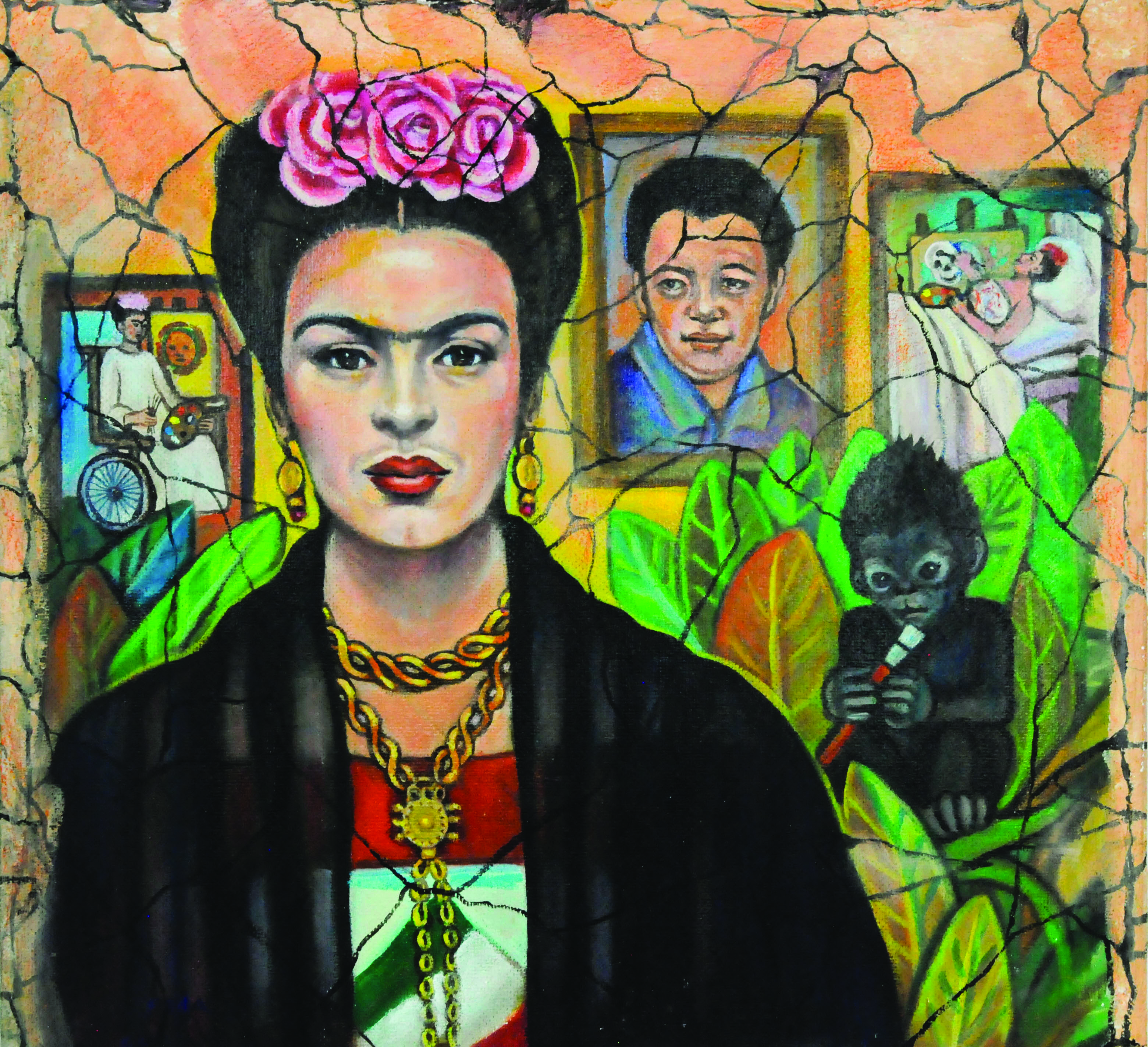 Image of a painting that depicts artist Frida Kahlo in the foreground, wearing pink and red flowers atop her head, and a dress which suggests the Mexican flag. She has a black shawl around her shoulders. In the background are images from Kahlo's life displayed as paintings on the wall behind her, including times of illness in her life.