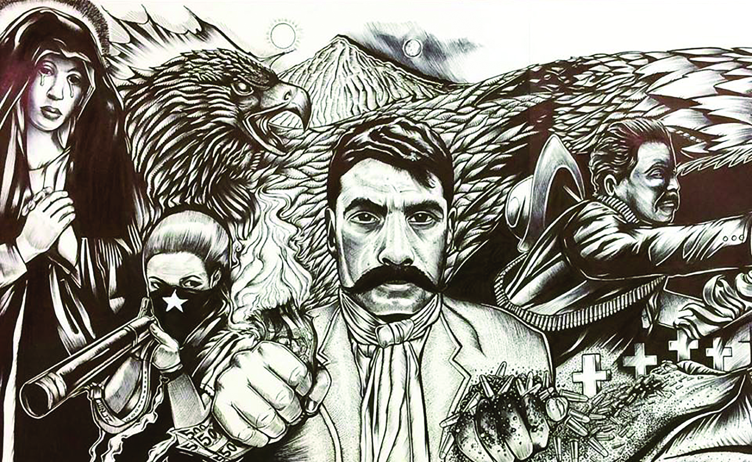 Image of artwork by Josiah Lee Lopez, depicting heroes in the struggle for Latinx equality