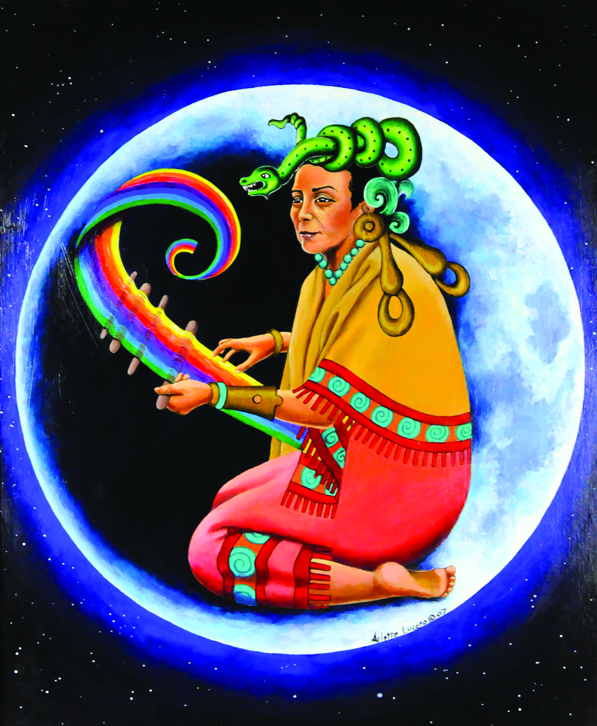 Image of a painting by artist Arlette Lucero. The painting depicts the moon, illuminated among the stars in a night sky. On the face of the moon is a woman with colorful traditional clothing. she is holding a rainbow in her hands, and a snake sits coiled on the top of her head.