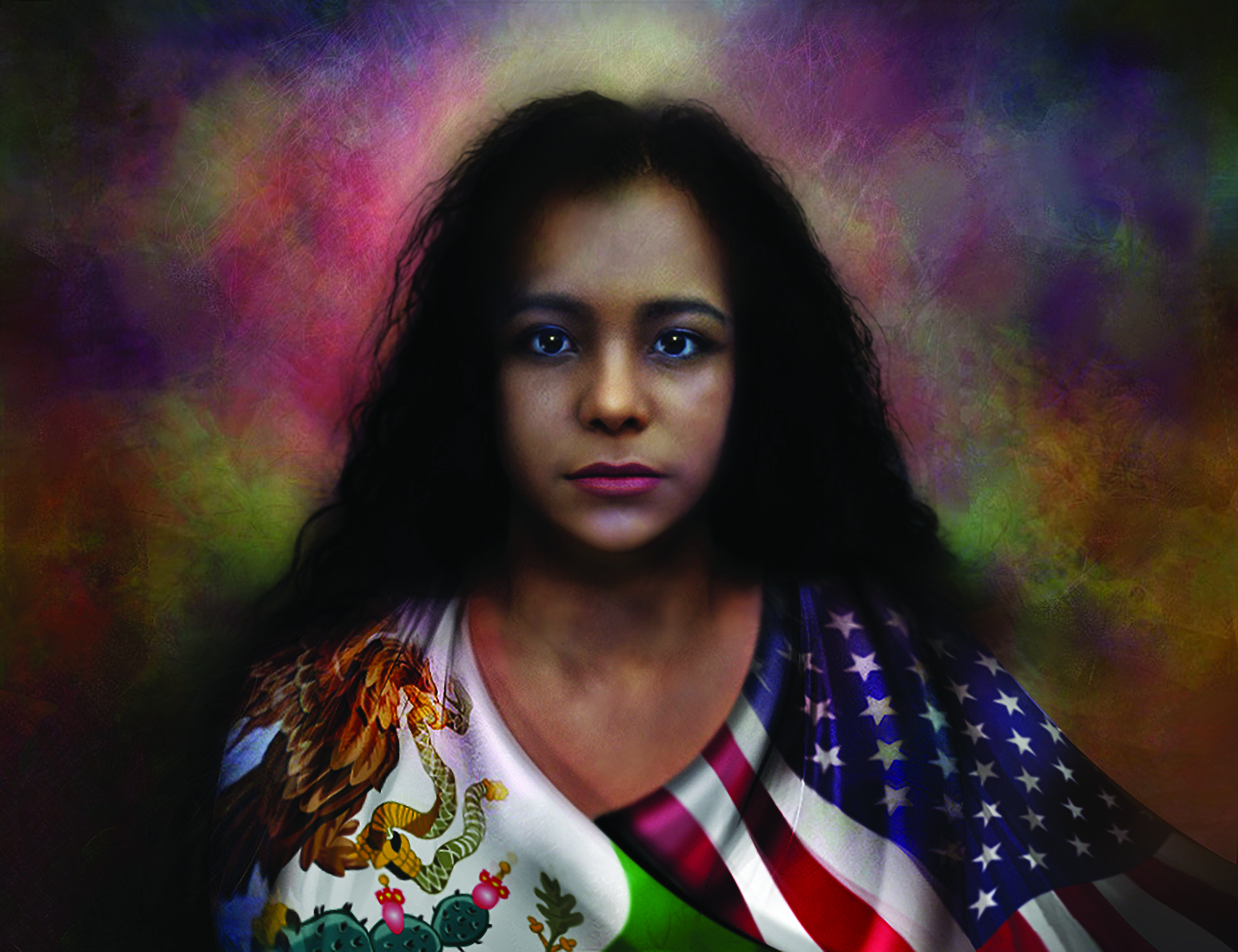 Image of a painting by artist Quintin Gonzalez. Portrayed here is a young Latina girl with long wavy black hair which falls below her shoulders. She looks directly at the viewer with an intense gaze. Around her shoulders are wrapped two flags: over her left shoulder are the stars and stripes of the American flag, and over her right shoulder the eagle, serpent, and cactus as well as the green of the Mexican flag are visible.  The background is a melange of red, pink, yellow, orange, and green.