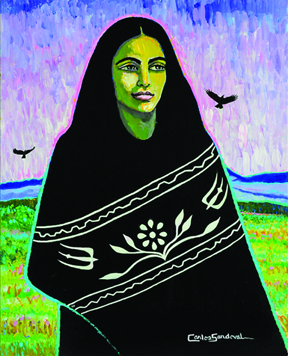 Image of a painting by artist Carlos Sandoval. The paintings depicts a woman standing in the foreground of the landscape which is covered in green fields with red flowers, and blue and purple mountains are on the horizon. The sky is variegated colors of pink and purples with the occasional brush stroke of turquoise blue. Two crows are flying the sky. The woman has large eyes and a smile on her lips. She has long black hair that falls past her shoulders and disappears into a black blanket wrapped around her.