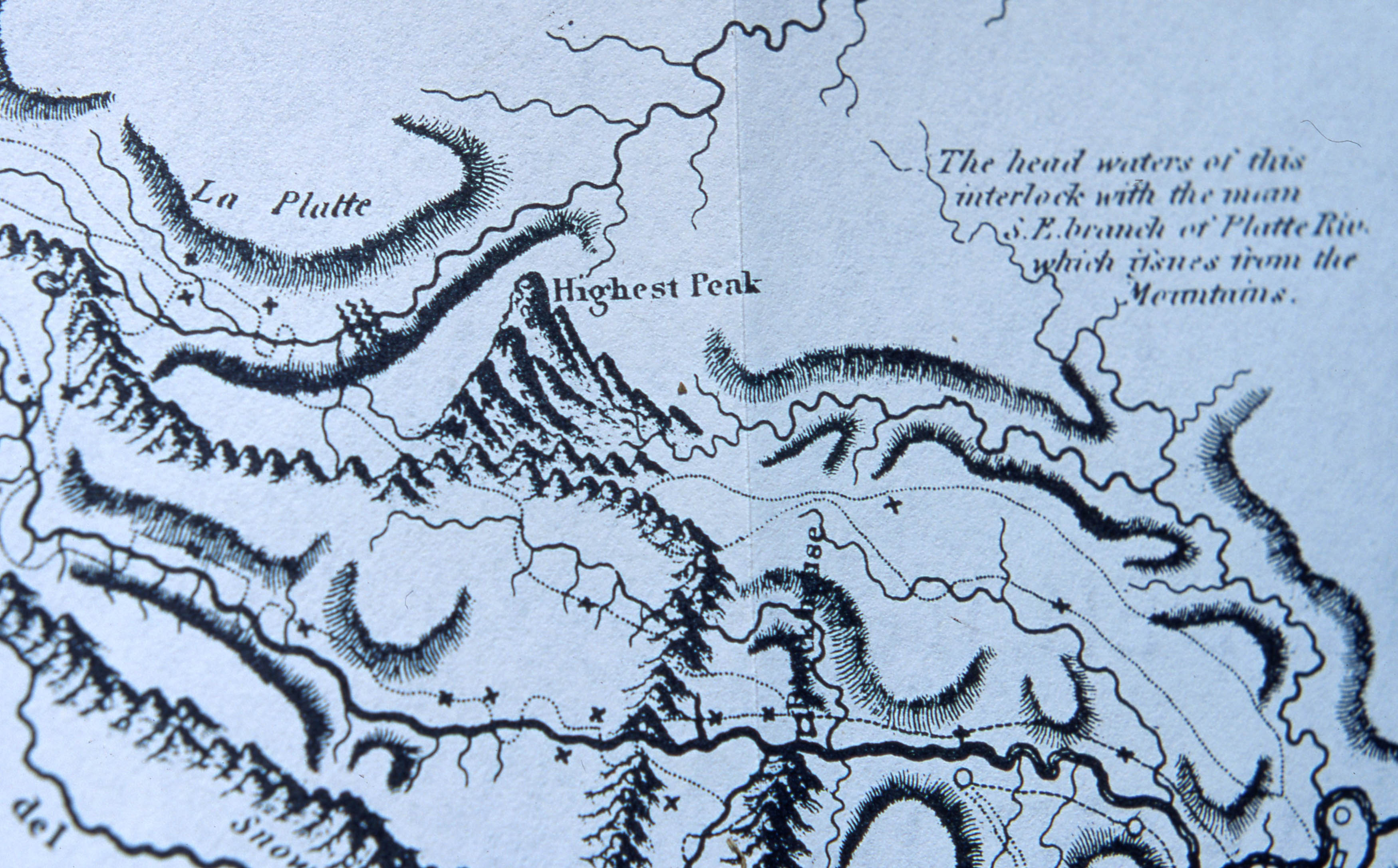 "Image is detail of Zebulon Pike's map of the internal part of Louisiana. It shows the ""Highest Peak,"" now known as Pikes Peak, as well as topographical details of the area directly surrounding the area. Also illustrated in close proximity is the Platte River."