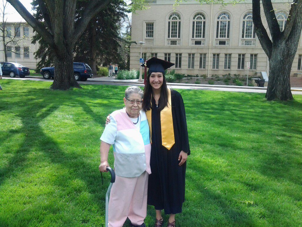 Shanea with Priscilla Salazar (grandmother) at her graduation ceremony