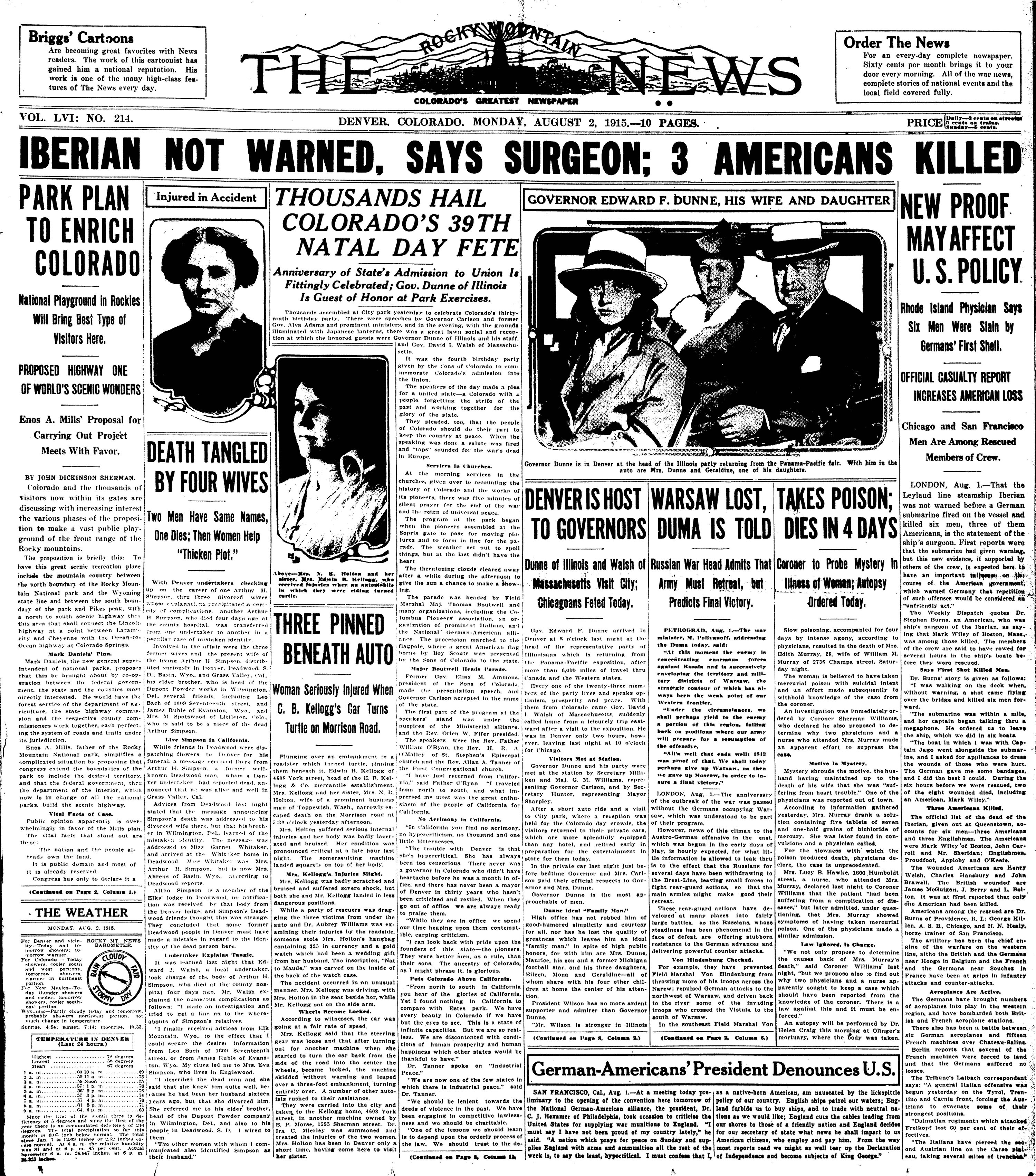 Rocky Mountain News August 2, 1915