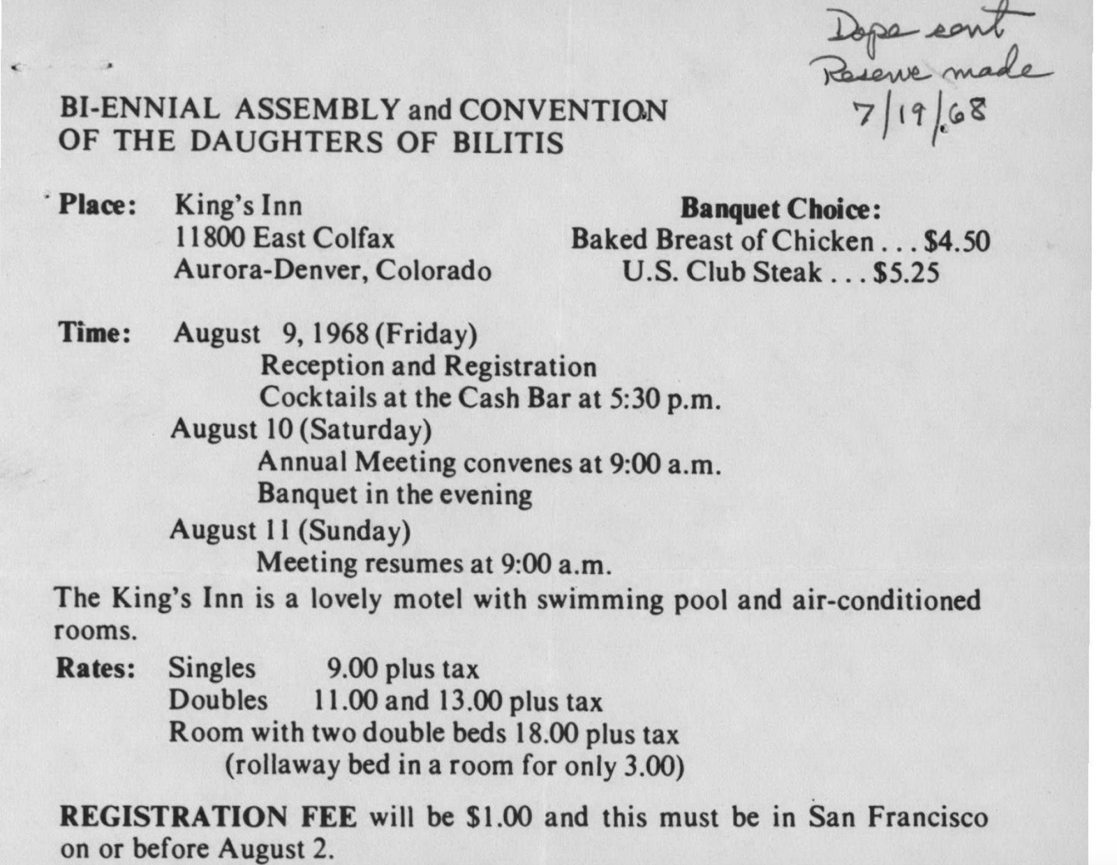 1968 Registration Form to Daughters of Bilitis National Convention, Denver, CO
