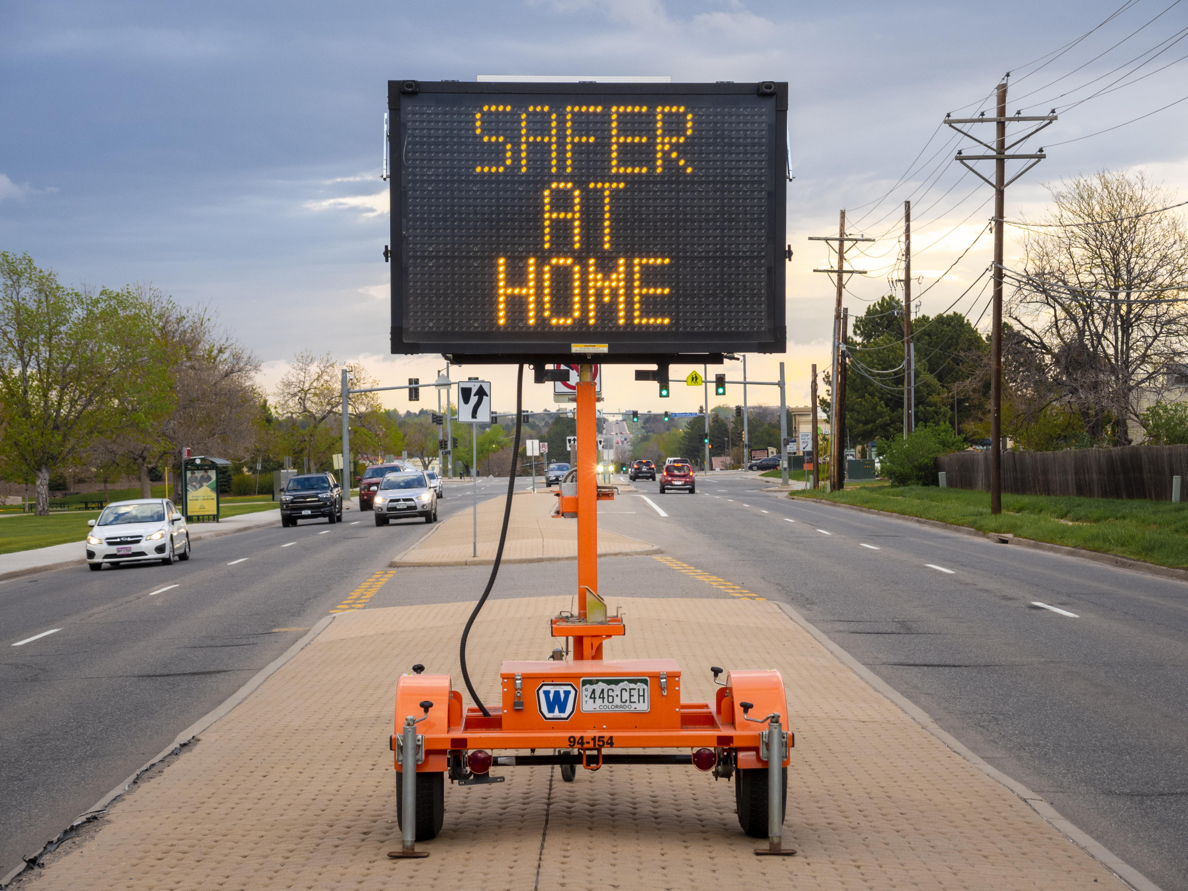 Safer at Home Road Sign in Centennial, Colorado, Object ID: 2020.31.38