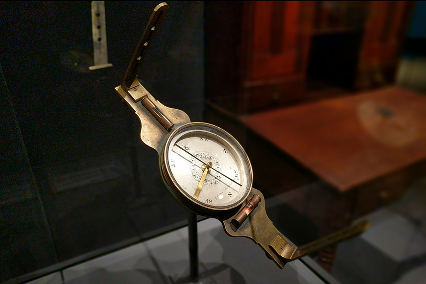 Compass in a display case