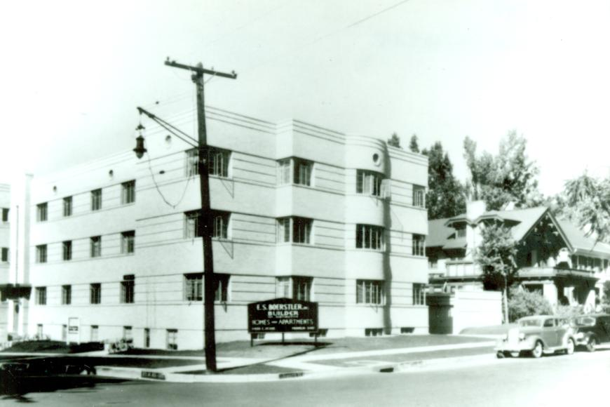 The Stanley Arms Apartments in its first year, 1937