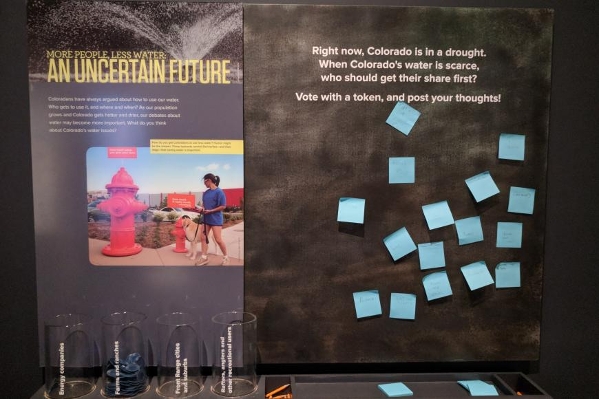 Presentation board with sticky notes about An Uncertain Future