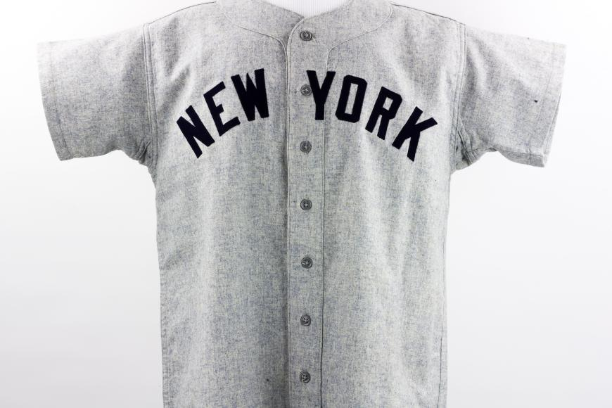 Joe DiMaggio's away jersey worn during game 2 of the 1951 World Series
