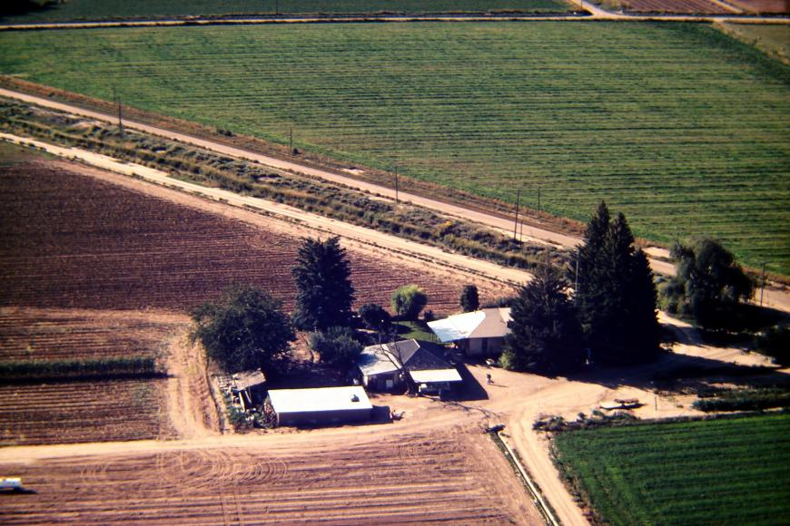 Aerial view of the Westesen Farm, 1983, with Dan Westesen flying the plane and Harold Westersen waving up at it.