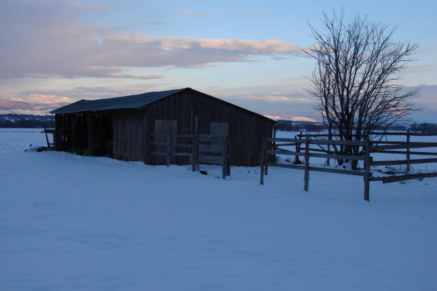 An old outbuilding on the Westesen Farm & ranch on a snowy winter day.