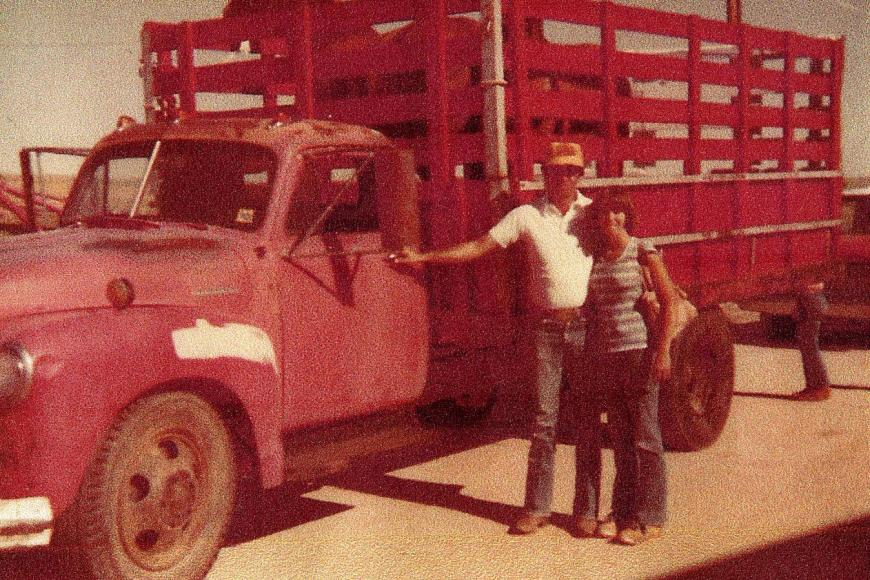 Don and Janet Bailey in front of a truck, 1978.