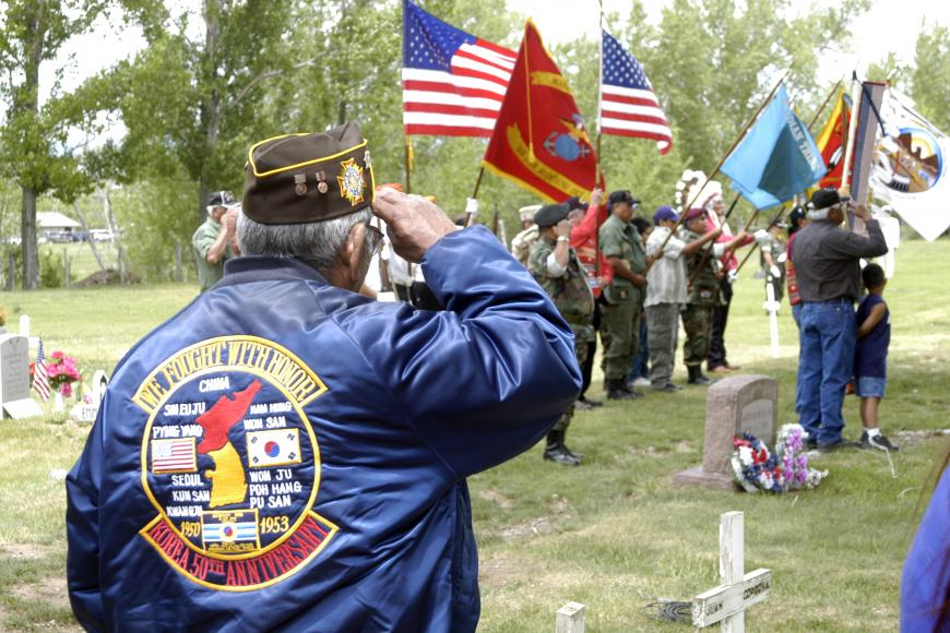 photo of Southern Ute veteran at Walk of the Warriors event