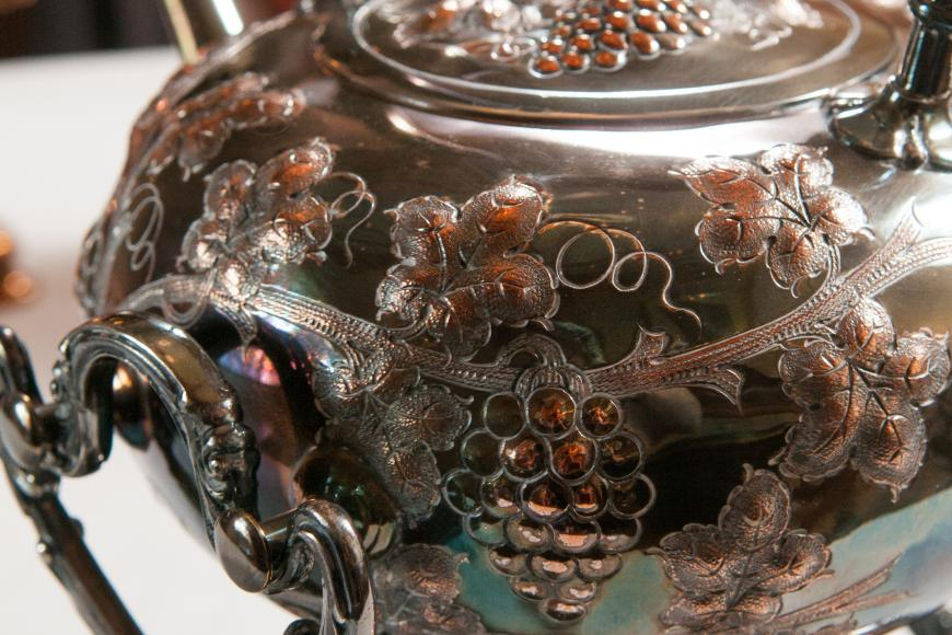 Photo of a Silver tea pot from the Byers-Evans House