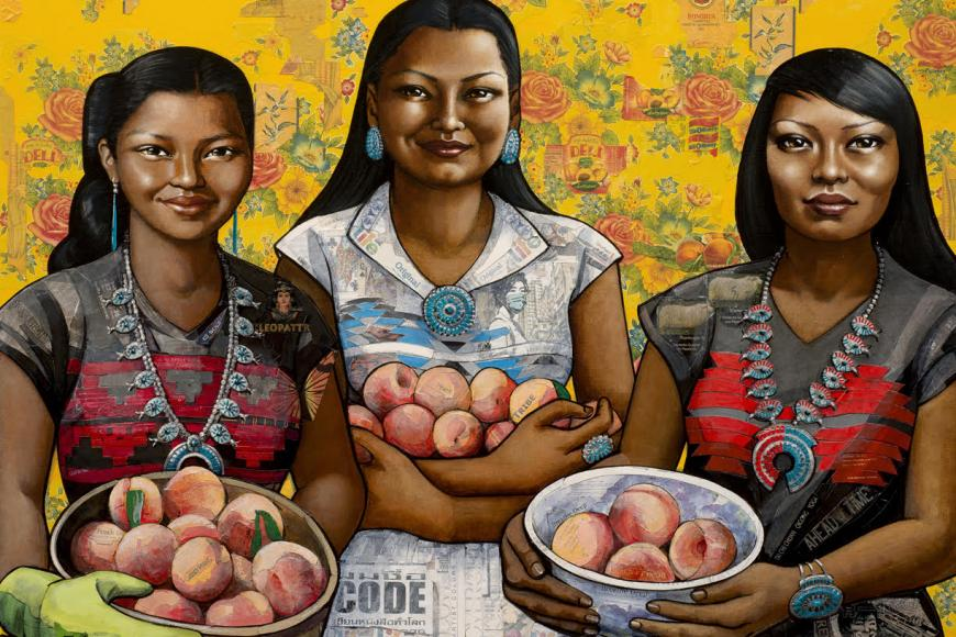 Painting of three women with fruit