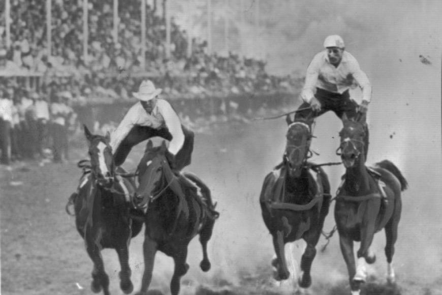 photo of men standing on horses in race