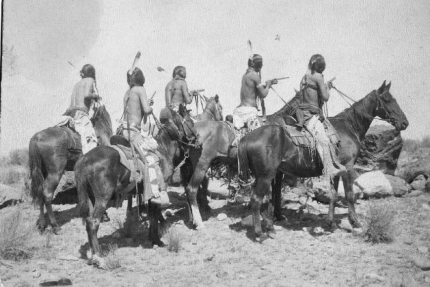 group of Southern Ute men on horseback