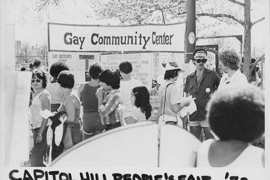 Gay and Lesbian Community Center of Colorado Collection photo of GLCC's booth at the 1979's Capitol Hill People's Fair