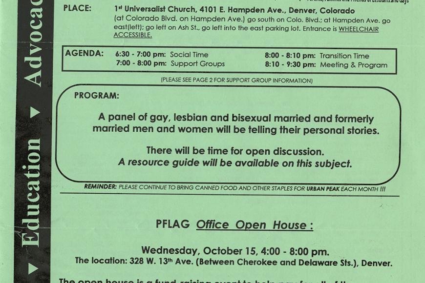 Gay and Lesbian Community Center of Colorado Collection scan of PFLAG Denver newsletter from October 1997