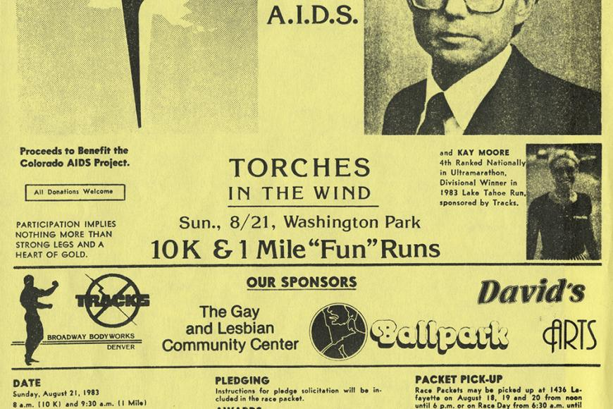 Run with Mayor Pena to fight AIDS flyer from 1983
