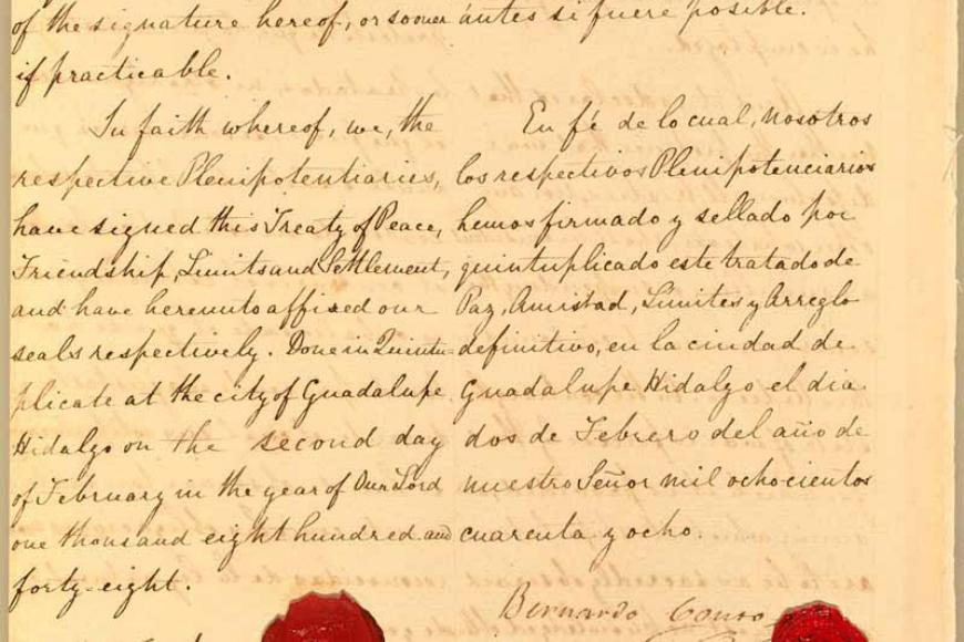 Last page of the Treaty of Guadalupe-Hidalgo