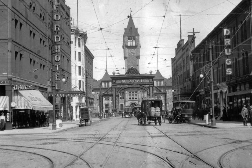 historic photo of street in front of Union Station