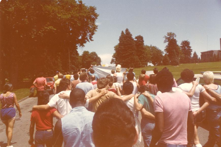 Gay and Lesbian Community Center of Colorado Collection photo of Gay Pride March in 1980 at Cheesman Park
