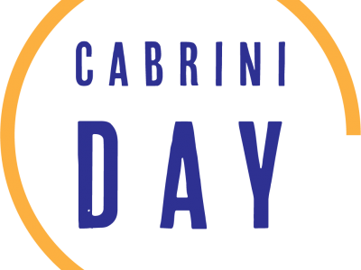 "Image of the logo for Colorado Cabrini Day. The logo is comprised of a yellow line which creates three quarters of a circle, and inside of the circle are purple block letters which read ""Cabrini"" on the first line, then ""Day"" in larger sized font on the second line. The background is white."