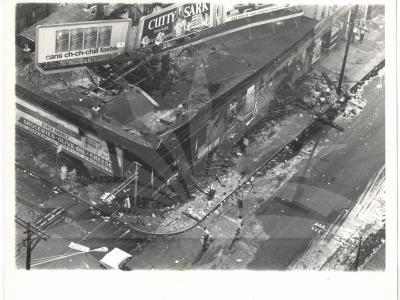 Aerial view shows a violently looted section of New Jersey's largest city after it witnessed a second night of racial disorder, late July 13th and early July 14th. Fire-bomb hurling Negroes rioted through downtown streets in a night-long rampage of burning and looting. One Negro was shot to death, a dozen other persons suffered gunshot wounds and at least 340 persons, including 27 policemen and firemen, were injured.
