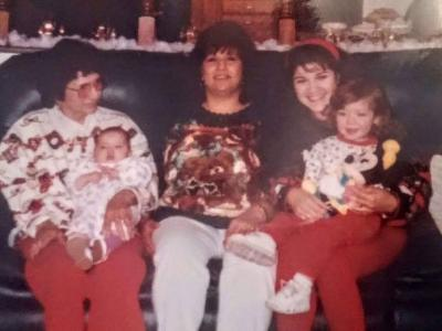 Four generation picture taken Christmas 1996:  Tamara Trujillo with Grandmother Maria Martinez, Mother Anna Martinez, Daughters Taylin and Jaden