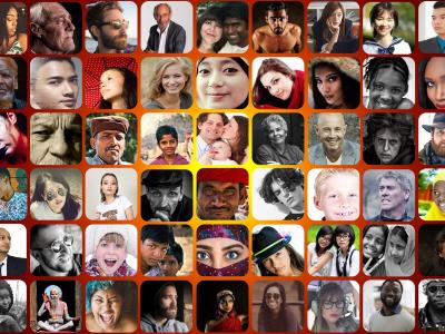 Photo of a montage of photos of human faces of all races and ages.