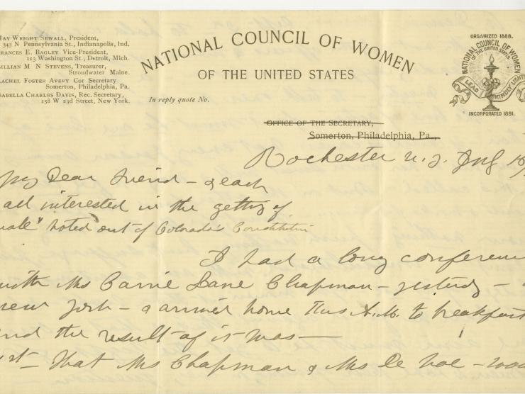 National Council of Women of the United States Letter