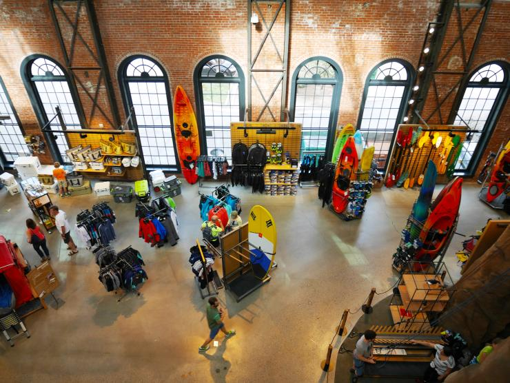 Inside of the REI Denver flagship store which is a premier outdoor gear and sporting goods store serving outdoor enthusiasts in Denver