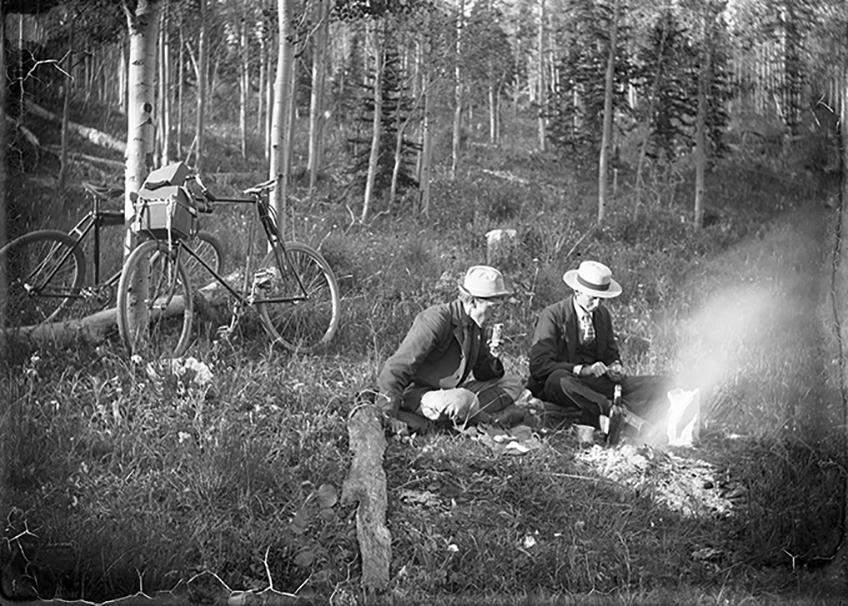 Fred Payne Clatworthy and a member of the Jackson family have breakfast near Pikes Peak on way to Cripple Creek