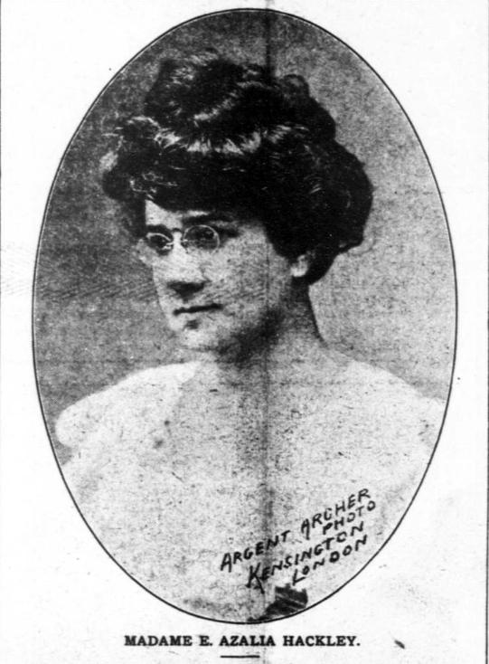 Vignette of Azalia Smith Hackley, with short, but full head of hair and glasses. Caption reads: Madame E. Azalia Hackley