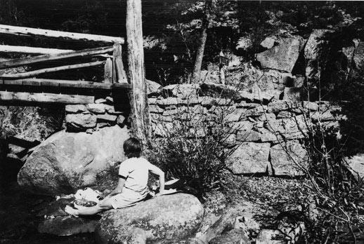 Black and white image of a visitor sitting along Fern Trail.
