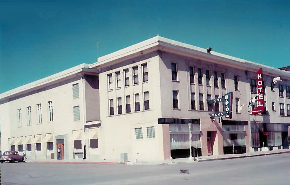 Street corner view of the Loveland Lodge #1051 of the Benevolent and Protective Order of the Elks circa 1950-1960.