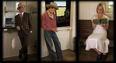 Three re-enactors pose in different parts of the Destination Colorado exhibit at the History Colorado Center